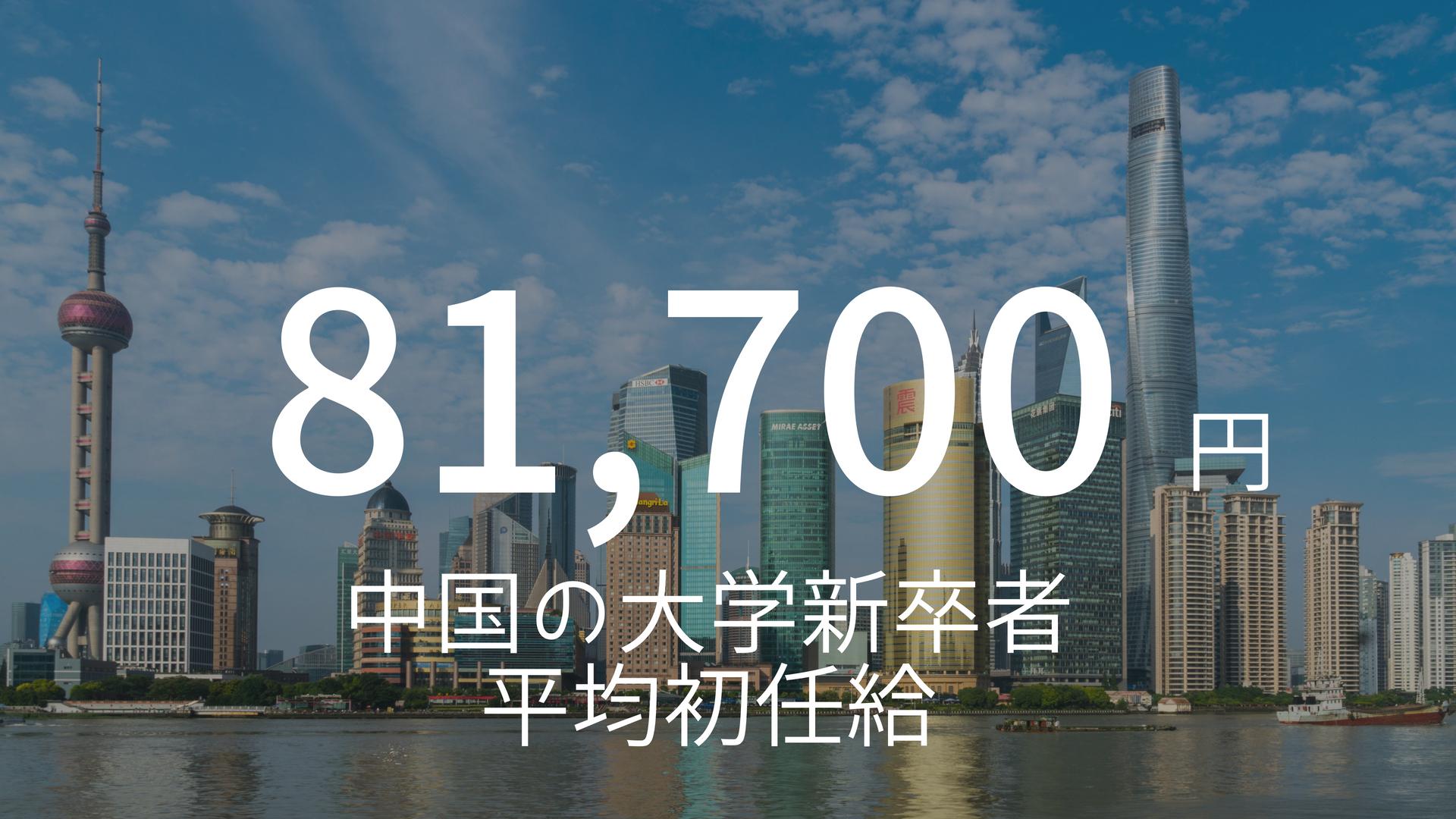 「81,700円」 >>> 意外と安い?意外と高い?中国での大学新卒者の初任給平均