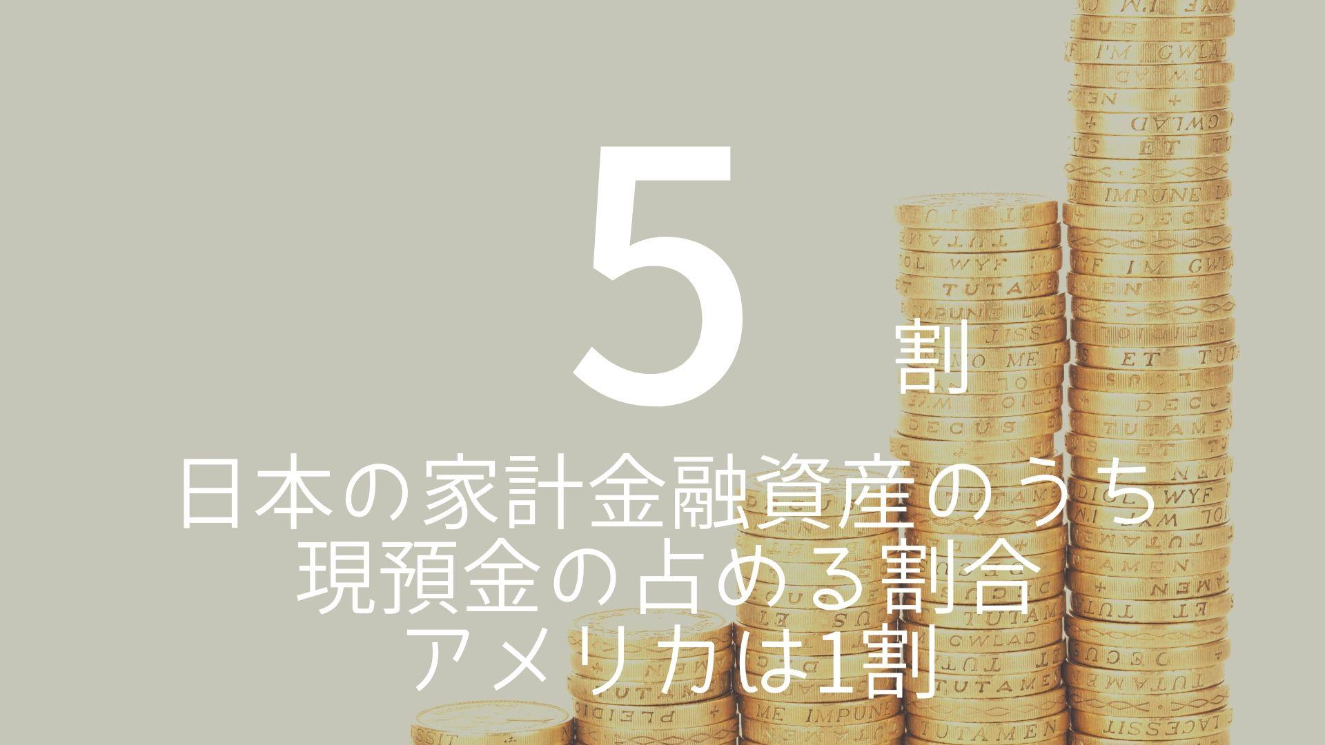 「5割」 >>> 日本の家計金融資産のうち現預金の占める割合。アメリカは1割。